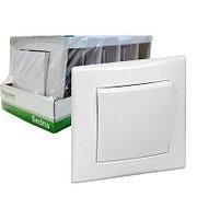 Выключатель 1-кл. в сборе с рамкой белый Упаковка 5 шт. фото