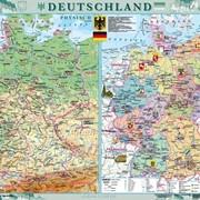 Deutschland. Фізична карта. Політико-адміністративна карта, м-б 1:1 000 000 (на планках) фото