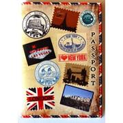 "Обложка на паспорт ""Марки"" фото"