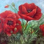 Картина стразами Красные маки 40х50 см фото