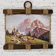 """Сувенирный свиток """"Церковь у подножия гор"""" формата А4 с подвеской из сургуча фото"""