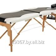 Складной 2-х секционный деревянный массажный стол BodyFit, черно-белый фото