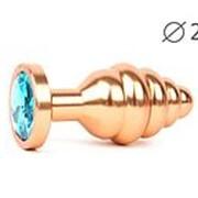 Коническая ребристая золотистая анальная втулка с голубым кристаллом - 7,1 см. фото