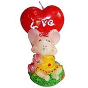 Свеча Мышонок с сердцем Love 9см фото