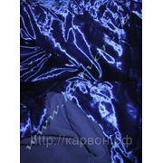 Ткань бархат на х/б основе синий фото