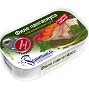 Консервы Филе пангасиуса в деликатесном соусе с морской капустой фото