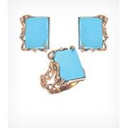 Кольцо и серьги с бирюзой, модель Винтаж Золото 585, арт. 1264 фото