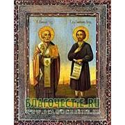 Благовещенская икона Николай Чудотворец, святитель и Симеон Верхотурский, святой праведный, копия старой иконы, печать на дереве Высота иконы 11 см фото