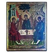 Мастерская старинной иконы Святая Троица (Ветхозаветная), копия старой иконы, печать на дереве Высота иконы 13 см фото