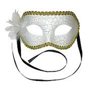 Карнавальная маска Мистерия белая с цветком фото