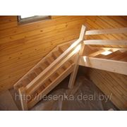 Комбинированное исполнение (дубовые ступени, подступенки+сосновые тетивы, ограждение) фото
