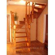 Лестница деревянная межэтажная фото