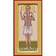 Храм Покрова Богородицы Петр Афонский, святой преподобный, ростовая икона на сусальном золоте (дерево 2 см с ковчегом) Высота иконы 19 см фото