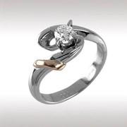 Кольцо, белое и желтое золото Au 585° пробы вставка - бриллианты1 БрКр57 0,31, вес: 4,42 гр, артикул: 88445 фото