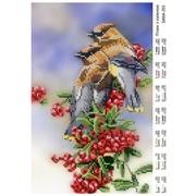 Схема для полной вышивки бисером Птицы с калиной фото