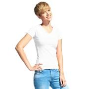 Женская футболка-стрейч с V-воротом StanVictoryWomen 07W Белый XS/42 фото