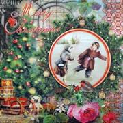 Салфетка для декупажа Винтажная зима фото