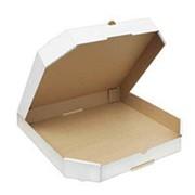 Коробка для пиццы 350х350х45 мм скошенные углы микрогофрокартон бело/бурый фото