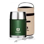 Термос для еды Арктика (0,8 литра) с супер-широким горлом в чехле, зеленый фото