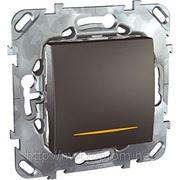 Переключатель с подсветкой одноклавишный (ГРАФИТ) фото
