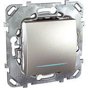 Выключатель кнопочный одноклавишный с подсветкой (АЛЮМИНИЙ) фото