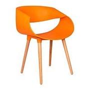 Стул TAPE оранжевый, деревянные ножки. фото
