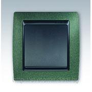 Выключатель одноклавишный Simon 82 металл (зеленая текстура) фото