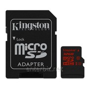 Карта памяти MicroSDHC 32GB Kingston Class 10 UHS-I U3 + SD-adapter (SDCA3/32GB), код 108133 фото