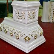 Ручная роспись золотом на изразцах (кафеле) под заказ фото