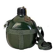 Фляжка армейская с ремнем, зеленая, 1,5 л. фото