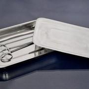 Лоток прямоугольный, 400х300х45 мм, с крышкой, из нержавеющей стали фото