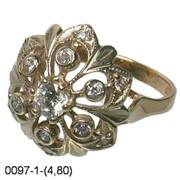 Кольцо золото Au 585° пробы со вставками из драгоценных и полудрагоценных камней фото