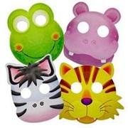 Карнавальные маски бумажные Забавные зверята ассорти фото
