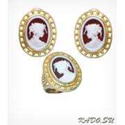 Кольцо и серьги с камеей, модель Великолепная Золото 585, арт. 1257 фото
