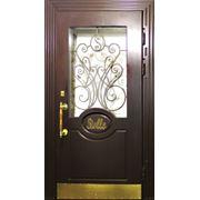 Металлические двери со стеклом и витражами ДСВ-10 фото