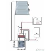 Солнечная установка для отопления и горячего водоснабжения на семью из 4-х человек для наклонной крыши, перепад высот до 12 м фото