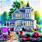 """Мозаика 668606 Рыжий кот ASN 009 алмазная см_20*20 цветов 16 """"Загородный дом"""" на картоне ( цена за 1 шт.) фото"""