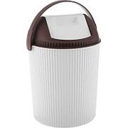 Бак для мусора с крышкой, белый (Изумруд) фото