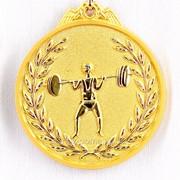 Медаль рельефная тяжелая атлетика - золото фото