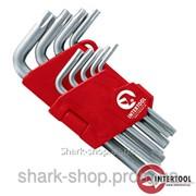 Набор Г-образных ключей TORX с отверстием 9шт., Т10-Т50, Cr-V HT-0604 фото