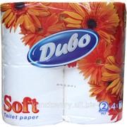 Бумага туалетная Диво Soft, по 4 рулона в упаковке, на гильзе, 2-х сл., белый фото