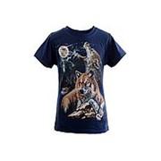 Модная футболка синего цвета с принтом волков 8 фото