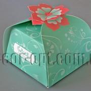 Бонбоньерка с цветком бирюзовая 6,5х6,5х6,5см 570792 фото