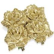 Декор Роза на клипсе золотая с блестк7,5см фото