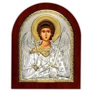 Ангел хранитель Икона серебряная с позолотой на деревянной рамке 55 х 70 мм фото