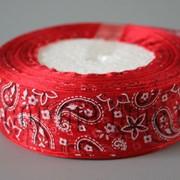 Лента органза Пейсли красная 2,5 см 25ярд 570407 фото