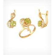 Кольцо и серьги с хризолитом Золото 585, арт. 847 фото