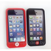 Силиконовый чехол iPhone 5 чёрный и красный фото