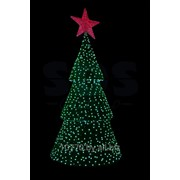 """3D фигура """"Ель со звездой"""", высота 4.5 метра, цвет зеленый провода каучук черного цвета, цвет светодиодов белый-синий-красный, 230V. NEON-NIGHT фото"""
