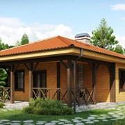 Дома комбинированные из клееного бруса, кв.м. фото
